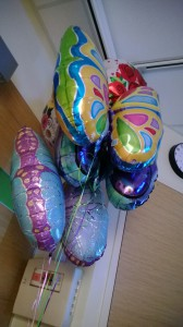 Obligatory balloons from my husband <3 Lots of butterflies this time; my favorite!